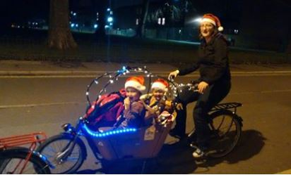 Cargobike decorated with Christmas lights