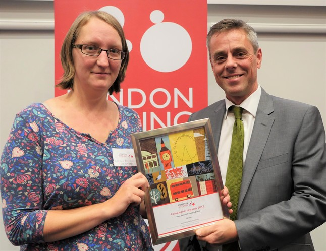 Ruth-Anna picks up the Best Family Friendly Event award from LCC for the Family Cycling Library