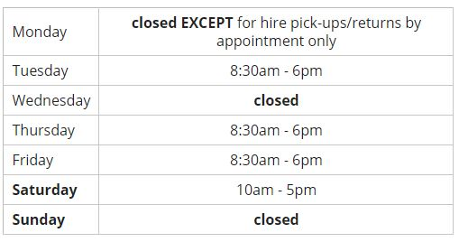 Opening Hours Spring 2018
