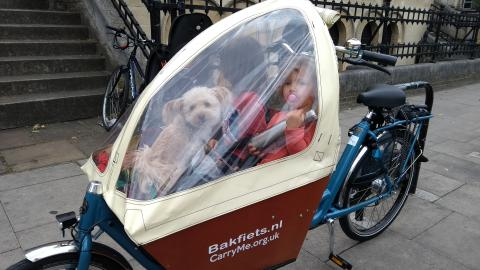 Bakfiets Short cargobike (with raintent) on special offer hire rate £100 for up to 2 weeks
