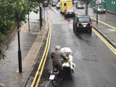 wedding bike on Ponsford Street ahead of bus