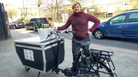 Vincent at My Green Partner uses a CarryMe freight cargobike by Bakfiets.nl