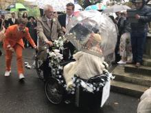 Wedding bike leaving church
