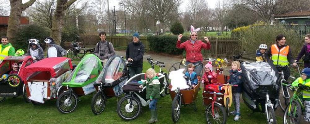 Our Easter Bunny ride with Family Cycling Hackney raised over £80 for charity Wheels for Wellbeing