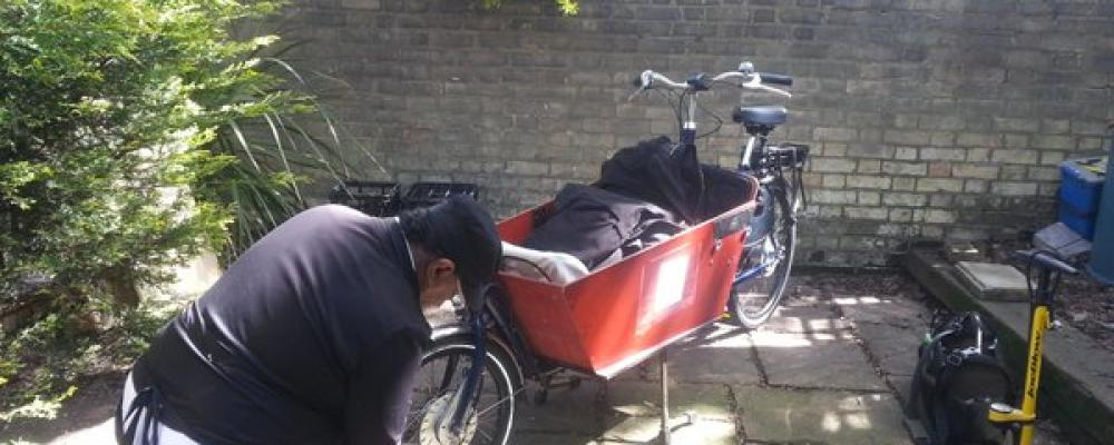 Mr Jones, our wonderful mechanic, services a customer's Long Bakfiets